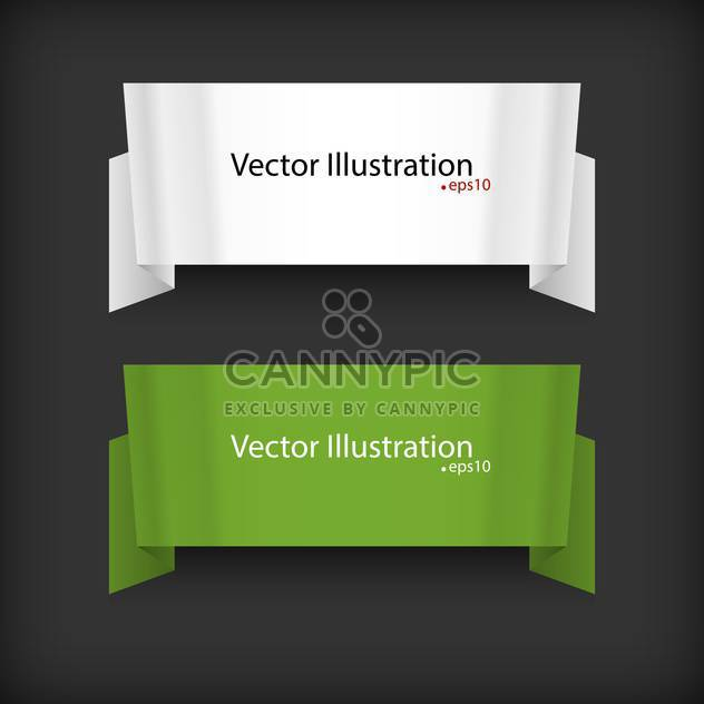 vector set of two ribbons on black background with text place - Free vector #127769