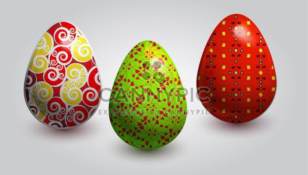 vector illustration of painted easter eggs on white background - Free vector #127809
