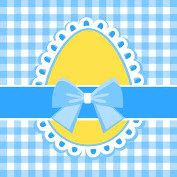 holiday background with yellow easter egg and blue bow - Free vector #127819