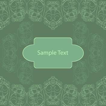 Vintage green background with floral pattern - vector gratuit #127859