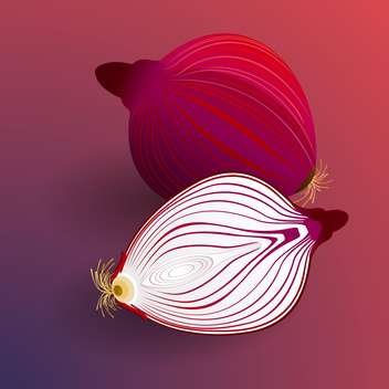 colorful illustration of sliced onions on red background - vector gratuit(e) #127899