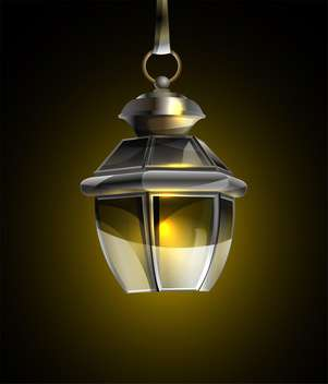 vector illustration of old lamp on black background - vector gratuit #127929