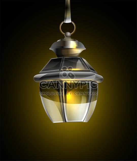 Vektor-Illustration der alten Lampe auf schwarzem Hintergrund - Free vector #127929