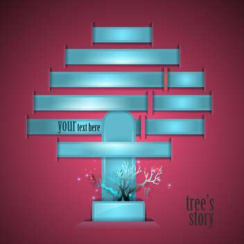 blue color tree with text place on purple background - vector gratuit #127959