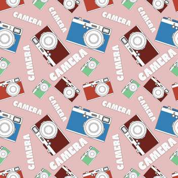 Old retro camera set on pink background - vector gratuit(e) #127979