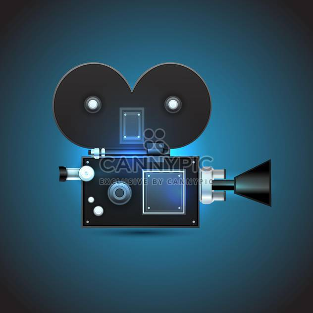 cinema camera on dark blue background - Free vector #128029