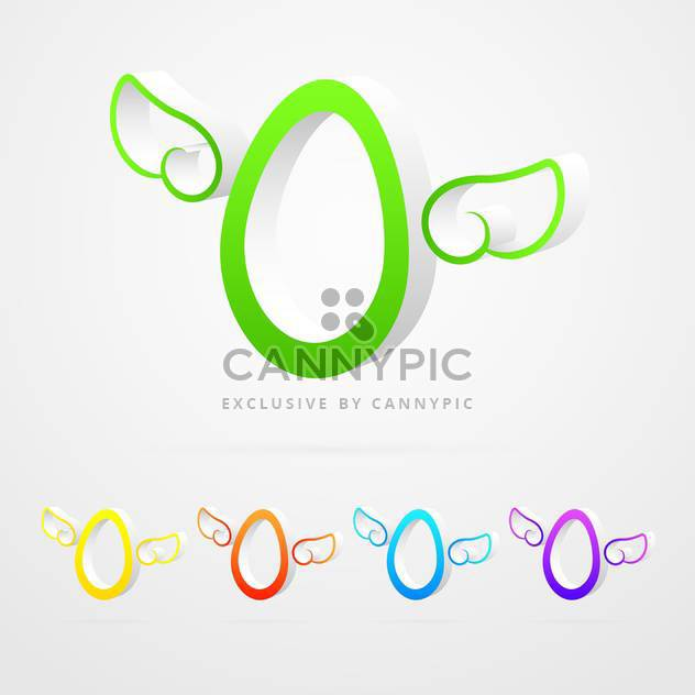 vector icons of eggs with wings on white background - Free vector #128049