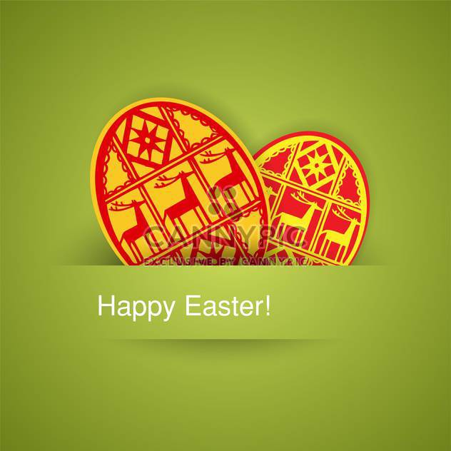 holiday background with easter eggs on green background - Free vector #128059