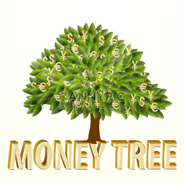 Money tree, vector illustration, isolated on white background - Free vector #128129