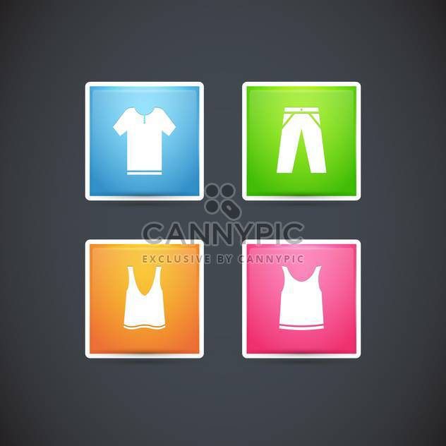 Vector set with clothes colorful icons, on black background - Free vector #128159