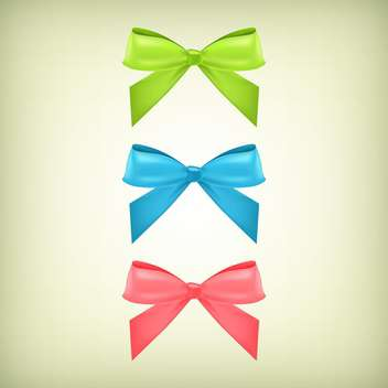Vector set with colorful bows background - Free vector #128209