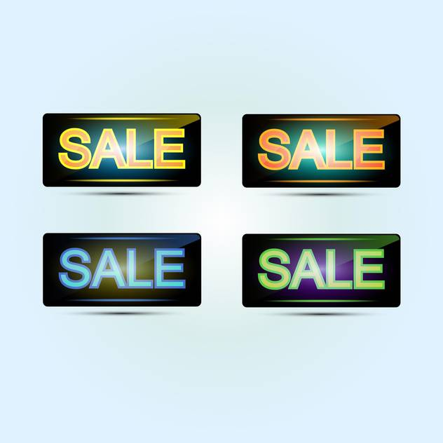 Four sale banners, vector icons, on white background - Free vector #128249