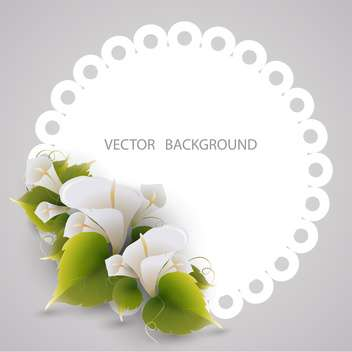 white frame with flowers, vector background - vector #128259 gratis