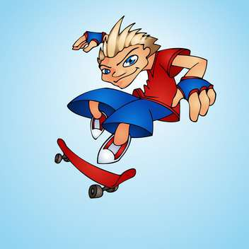 teenager riding on the skateboard - vector #128269 gratis