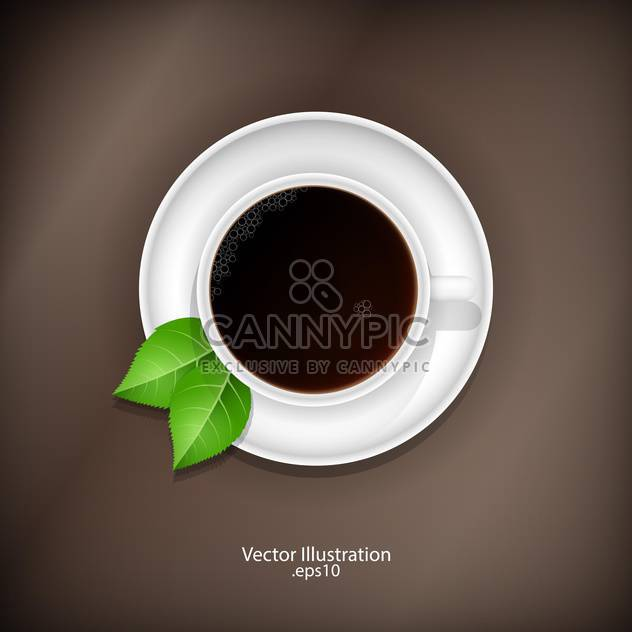 Cup of tea with green leaves illustration - Free vector #128289