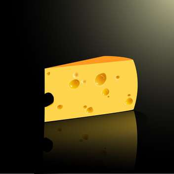 Slab of cheese on black background - vector gratuit #128359