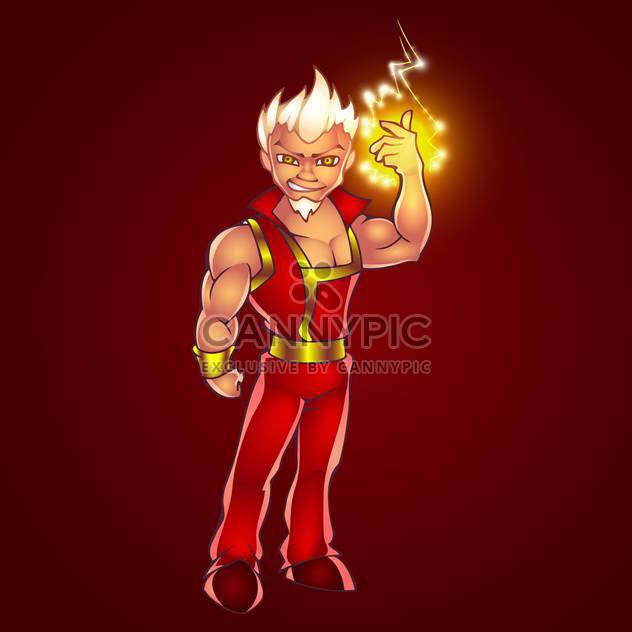 Vector illustration of cartoon man full of electric lightning - Free vector #128469