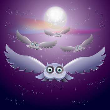 Vector illustration of flying owls in the night sky with moon - Free vector #128629