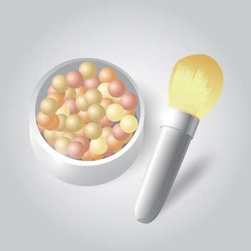 Vector illustration of cosmetic powder and brush - vector gratuit #128649
