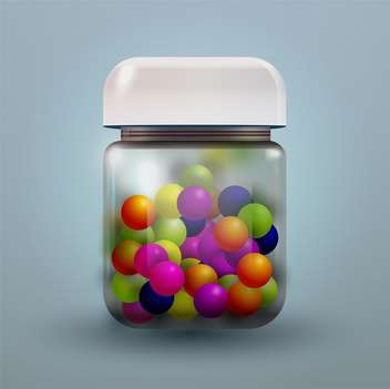 Vector illustration of jar with colored candy - vector #128719 gratis