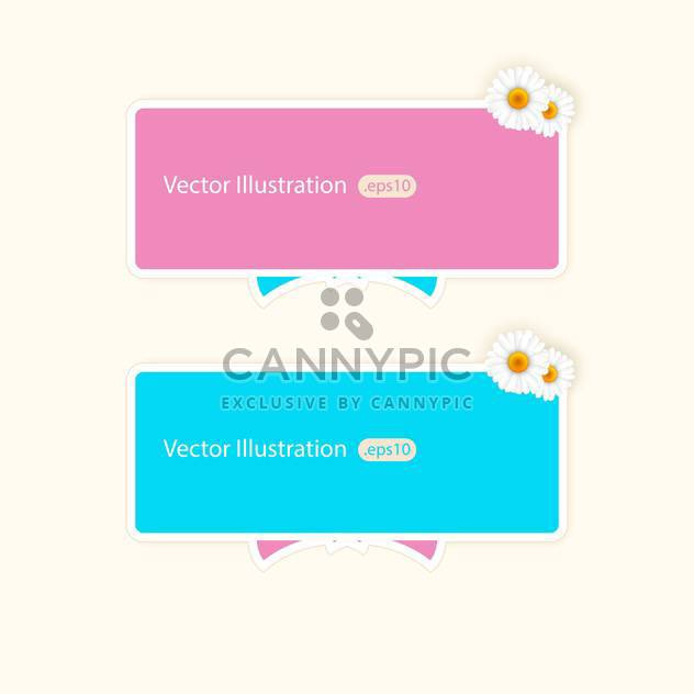 Vector banners with camomiles and copy space - Free vector #128739
