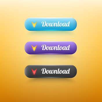 Vector set set of colorful download buttons on yellow background - vector #128799 gratis