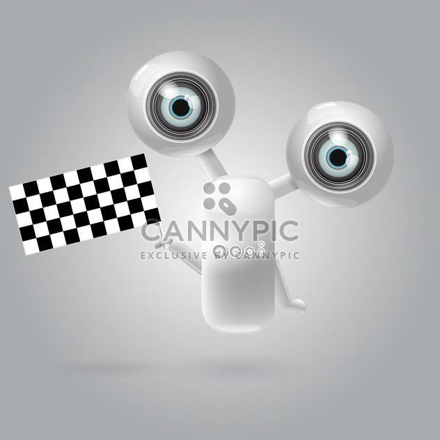 Cute robot with racing flag vector illustration - Free vector #128809