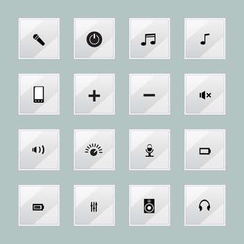 Vector set of multimedia media centre icons - Free vector #128829