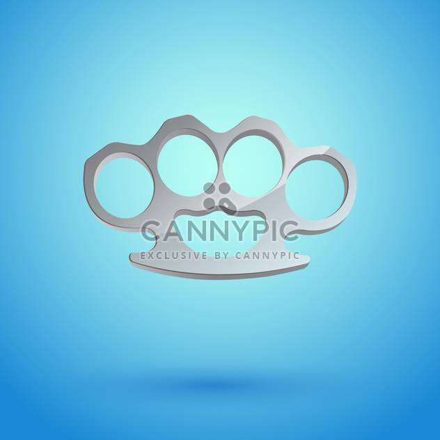 Vector illustration of brass knuckles on blue background - Free vector #128839