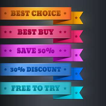 Vector set of colorful ribbon promotional products design - vector gratuit #128869