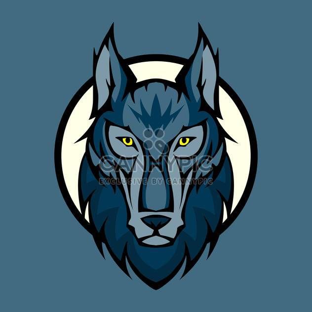 Vector illustration of wolf head in front - Free vector #128889