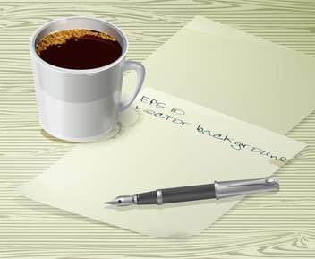 Office desk composition with fountain pen, papers and cup of coffee - vector #128919 gratis