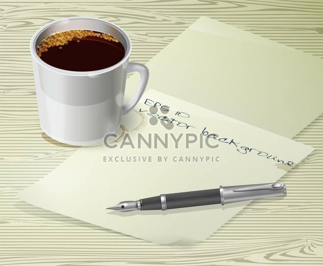 Office desk composition with fountain pen, papers and cup of coffee - Free vector #128919