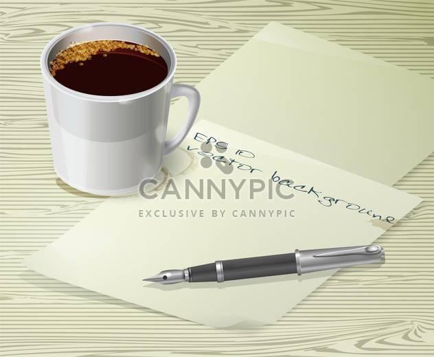 Büro Schreibtisch Komposition mit Füllfederhalter, Papiere und Tasse Kaffee - Kostenloses vector #128919