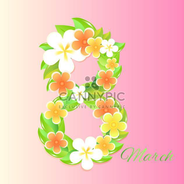 women's day greeting card with flowers - Free vector #128969