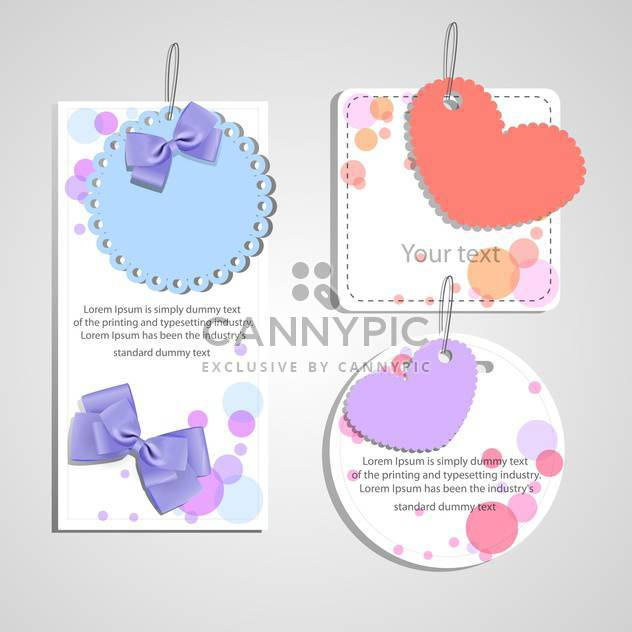 set of gift cards with hearts and bows - Free vector #129129