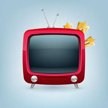 Vector red retro tv set on blue background - vector gratuit #129179