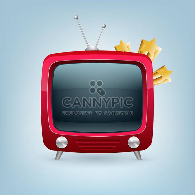 Vector red retro tv set on blue background - Free vector #129179