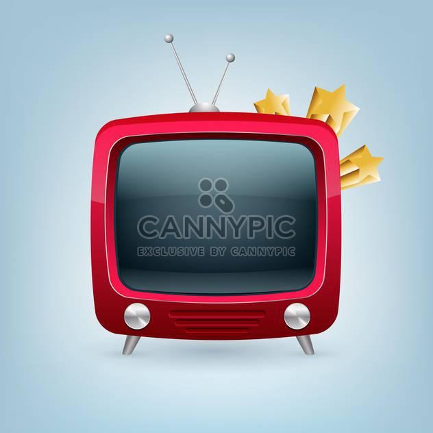 Vektor rot Retro set tv auf blauem Hintergrund - Kostenloses vector #129179