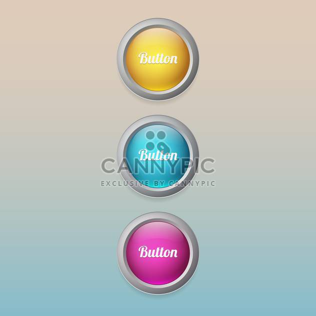 Vector set of colorful buttons - Free vector #129299