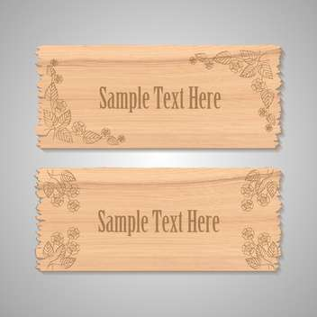 Vector wooden floral banners on gray background - vector gratuit #129309