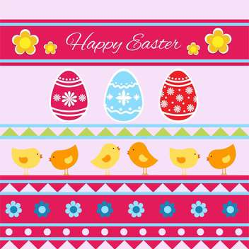 Vector Happy Easter greeting card with eggs and birds - бесплатный vector #129349