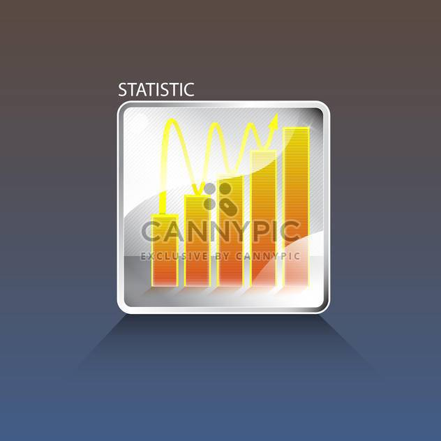 Vector business chart button on blue background - Free vector #129389