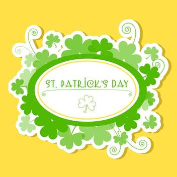 Vector yellow St Patricks day greeting card with frame and clover leaves - vector gratuit #129429