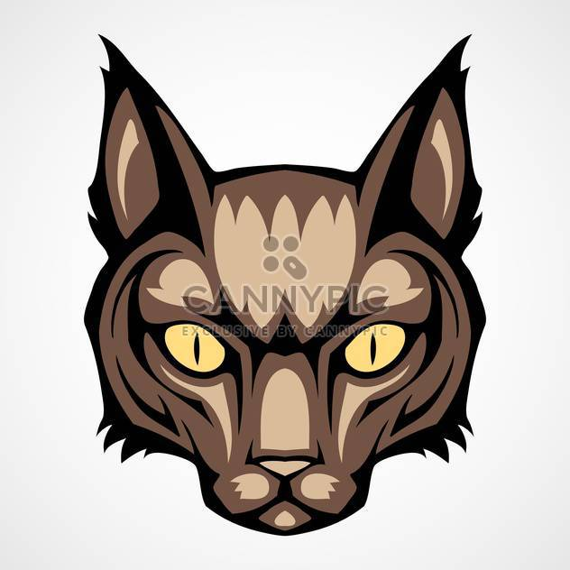 Vector illustration of brown cat head on white background - Free vector #129439