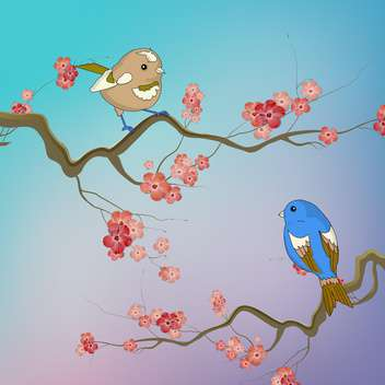 Vector illustration of birds sitting on branches with spring flowers - бесплатный vector #129529