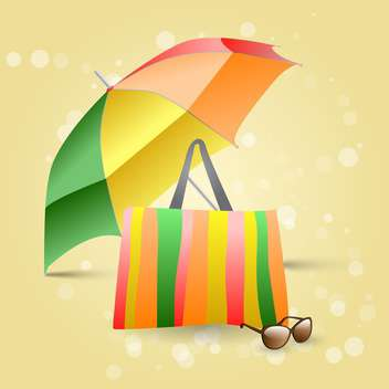 Vector illustration of beach colorful umbrella, bag and sunglasses on yellow background - vector gratuit #129539