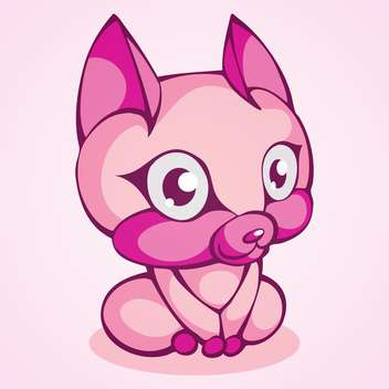 Vector illustration of cute purple kitten on pink background - Free vector #129569