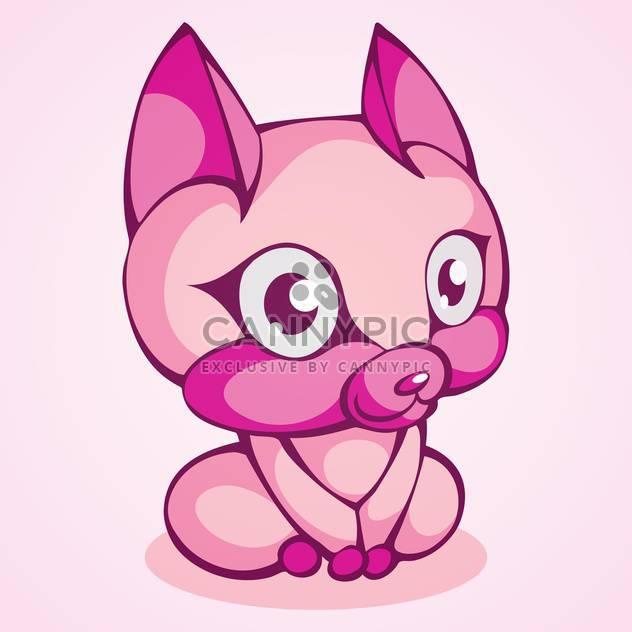 Vektor-Illustration von hübsch lila Katze auf rosa Hintergrund - Kostenloses vector #129569