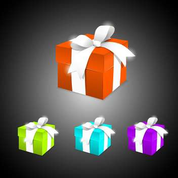 Vector set of colorful gift boxes on black background - Free vector #129659
